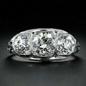 Art Deco Vintage 1.96 Carat Brilliant Cut Moissanite 3-Stone Engagement Ring 925 S Silver