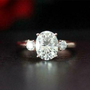 2.80 Carat Forever Oval Cut & Round Cut Diamond 3 Stone Engagement Ring 14k Rose Gold