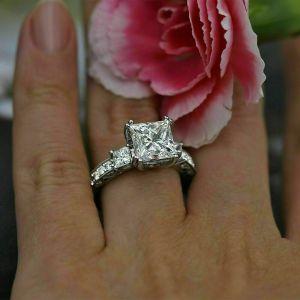 Art Deco 2.90 Ctw Solitaire 3-Stone Princess White Diamond Engagement Ring 14k White Gold