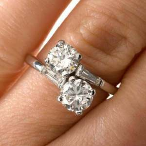 2.14 Ctw Solitaire 2 Stone Round Moissanite Engagement Ring 14k White Gold