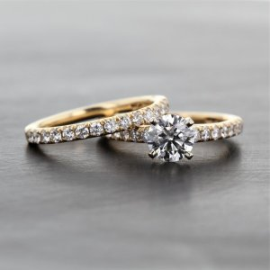 2.12 Ctw Near White Round Moissanite Solitaire Engagement Ring Set 14k Yellow Gold