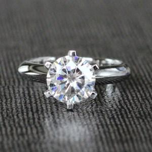 Huge 2.25 Ct Classic Round Moissanite Diamond Engagement Ring 14k White Gold