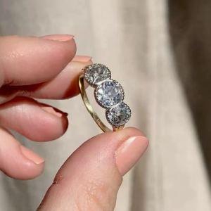 2.07 Ct Three Stone Round Moissanite Bezel Set Engagement Ring 14k Yellow Gold Over