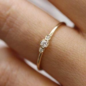 0.65 Ctw Bezel Round 3-Stone Moissanite Anniversary Engagement Ring 14k Yellow Gold