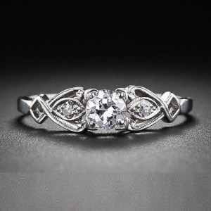 Antique 1.30 Ct Round Near White Moissanite Engagement Ring 925 Sterling Silver
