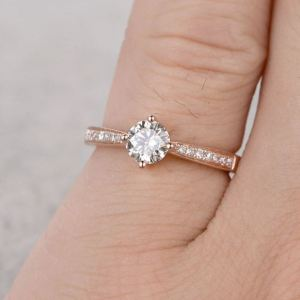 1.25 Ct Brilliant Cut Mini Round Moissanite Proposal Ring Engagement Ring 14k Rose Gold