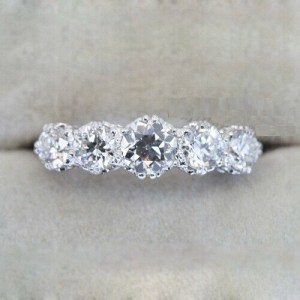 1.96 Ctw Solitaire 5-Stone Round Cut Moissanite Bridal Engagement Ring 14k White Gold