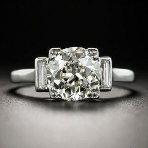 Art Deco 2.Carat Brilliant Cut VVS1 Moissanite Engagement Ring 925 Sterling Silver
