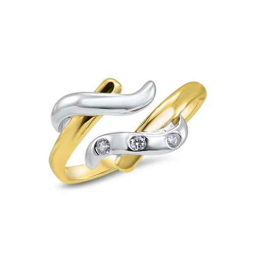 14K White and Yellow Gold Toe Ring