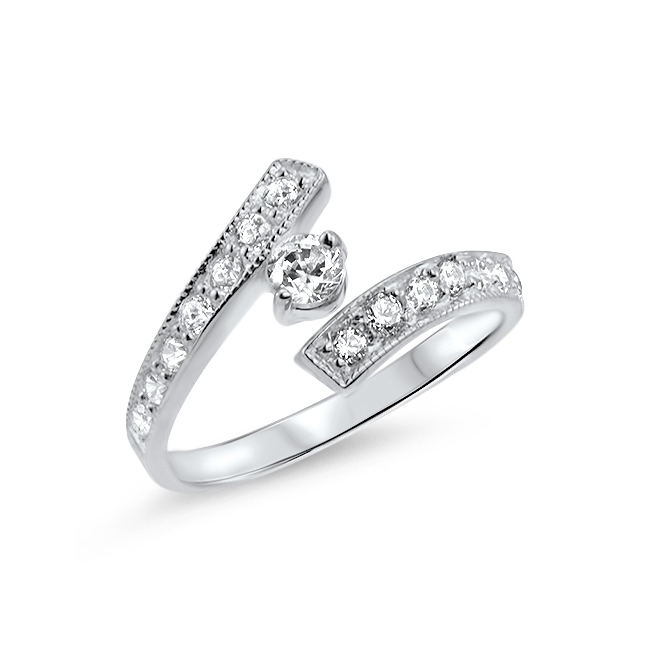 10K White Gold CZ Toe Ring