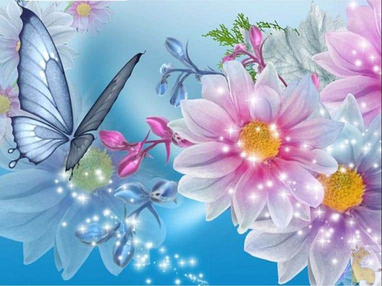 Butterfly Flowers Diamond Painting Kit at ...