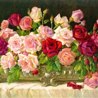 Table Roses Diamond Painting Kit