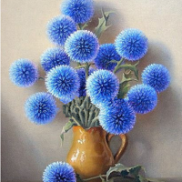 Round Blue Flowers Diamond Painting Kit