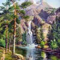 Mountain Spring Waterfall Diamond Painting Kit
