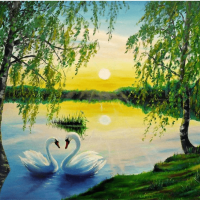 Swan Lake Sunset Diamond Painting Kit
