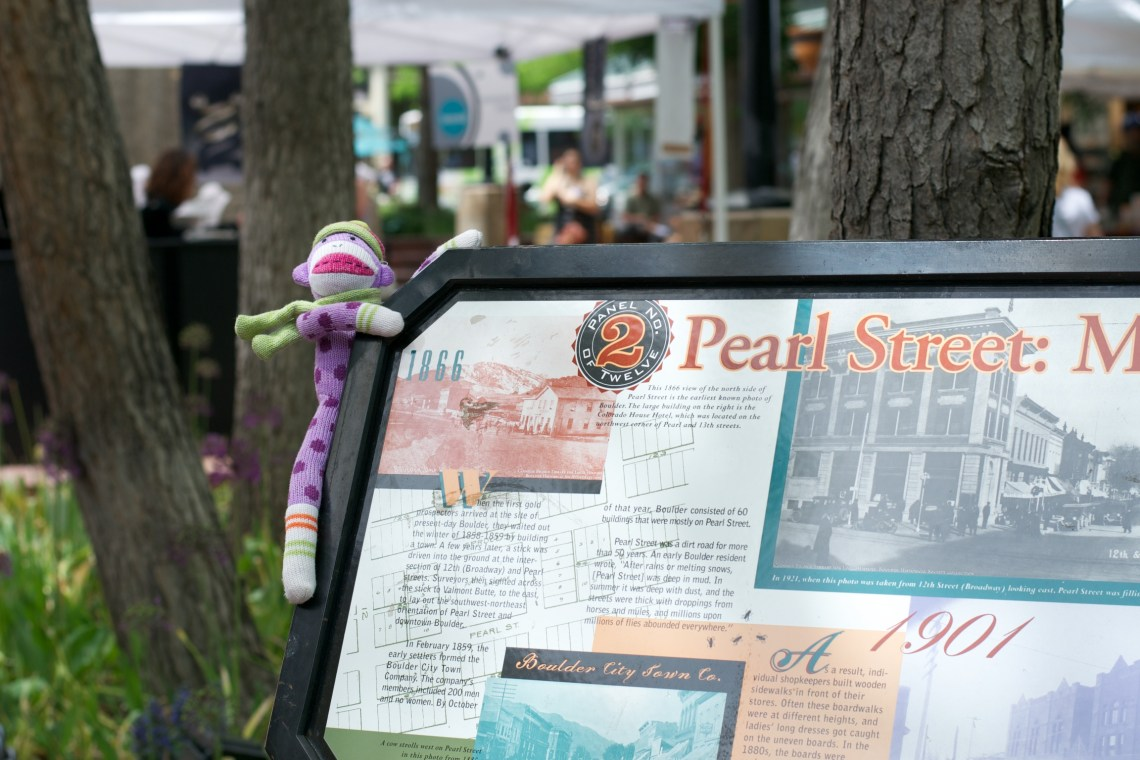 Sock Monkey Learns about the History of Pearl Street Mall