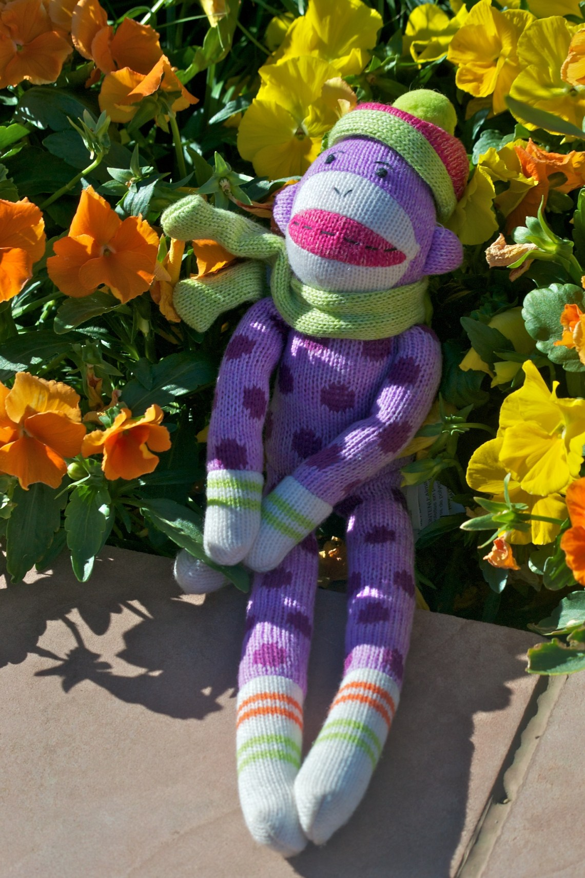 Sock Monkey Sitting Amongst Flowers