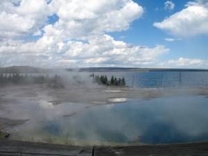 Hot pools next to Yellowstone Lake