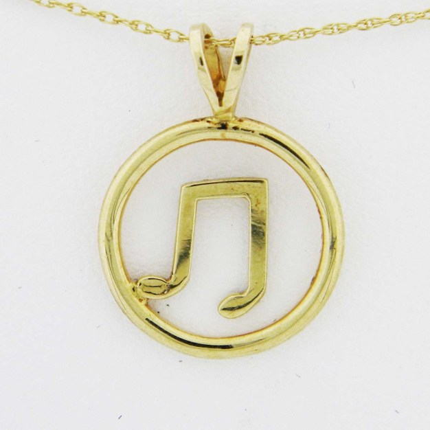 Yellow Gold Circle Music Note Pendant