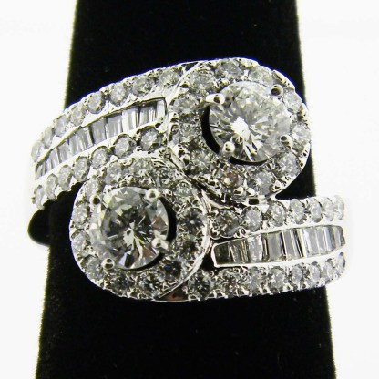 White Gold Double Halo Diamond Custom Ring