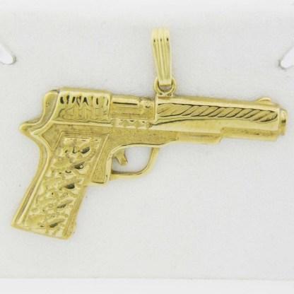 Yellow Gold Pistol Custom Pendant