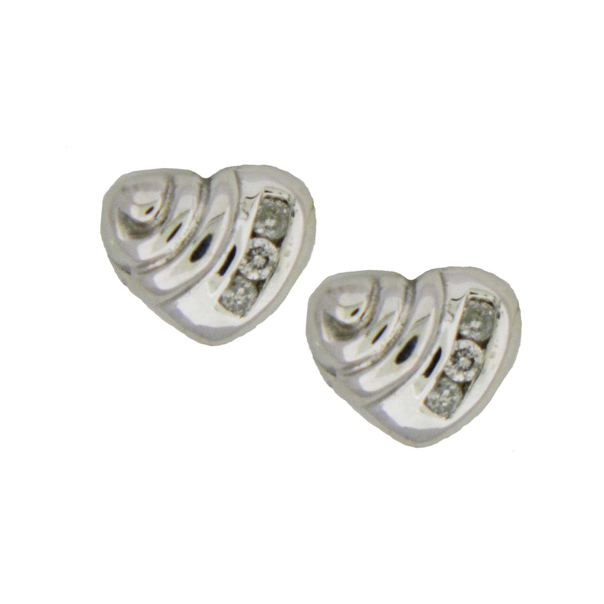 White Gold Heart and Diamond Earrings