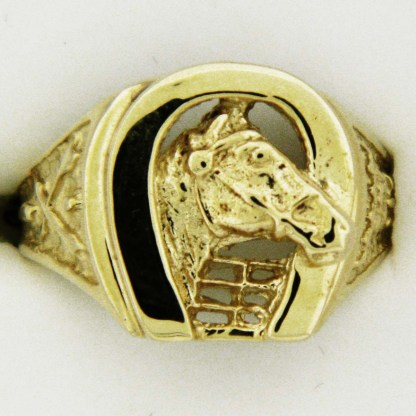 Yellow Gold Horse and Horseshoe Custom Ring
