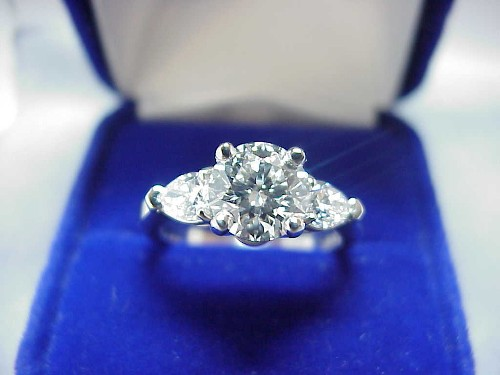 Round Diamond Rings Round Brilliant Cut Diamond Ring 141 carat with 059 tcw of Pear shaped