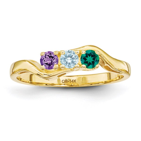 Rings Gemstone Jewelry Collections 14k Yellow Gold Genuine 3 Stone Wavy Mothers Ring