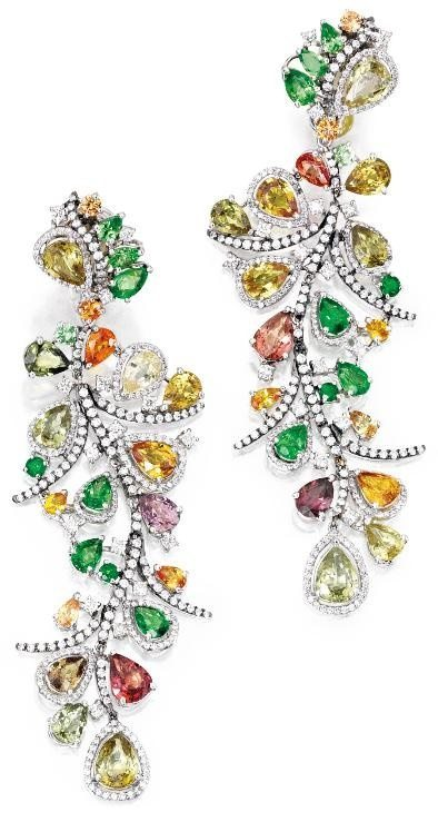 18 Karat White Gold, Colored Stone and Diamond Pendant-Earclips with colored sapphires and garnets. By Michael Youssoufian. Via Diamonds in the Library.