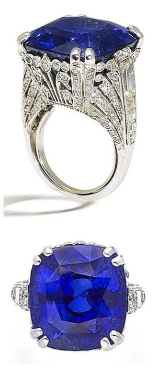 An ornate sapphire and diamond ring, by Chantecler. Via Diamonds in the Library.
