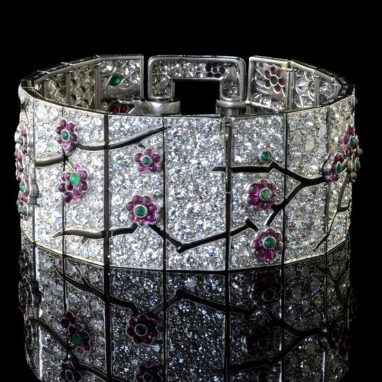 Art Deco Cartier cherry blossom bracelet. Circa 1925. Via Diamonds in the Library.