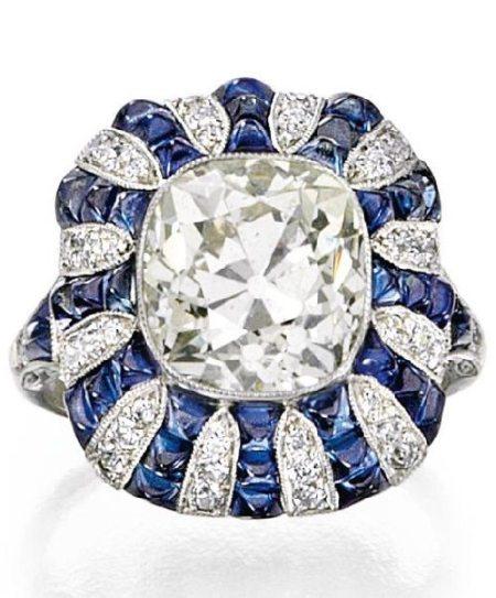 Art Deco diamond and sapphire ring, circa 1920. Via Diamonds in the Library.