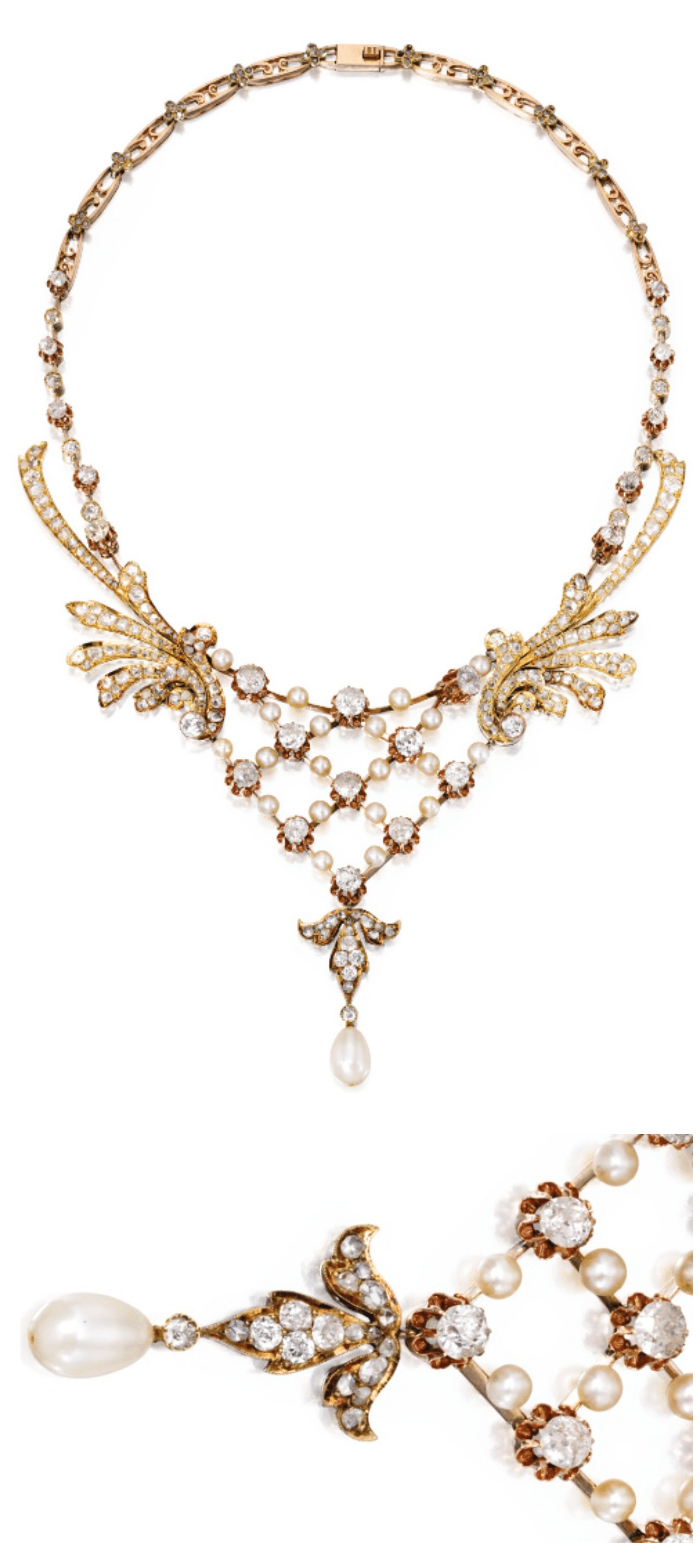 Gold, diamond and pearl necklace, circa 1900. Via Diamonds in the Library.