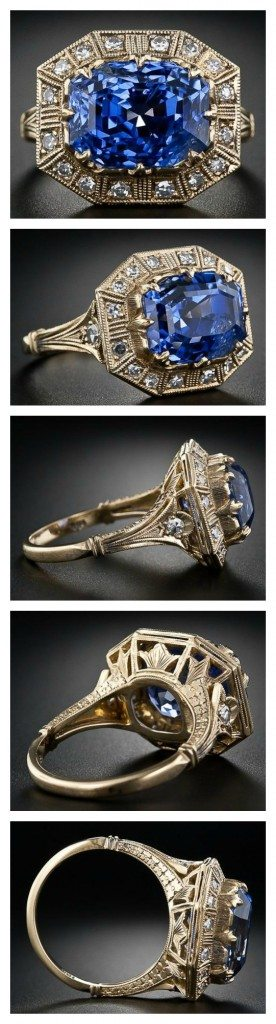 8.62 carat Art Deco-style sapphire and diamond ring. Via Diamonds in the Library.