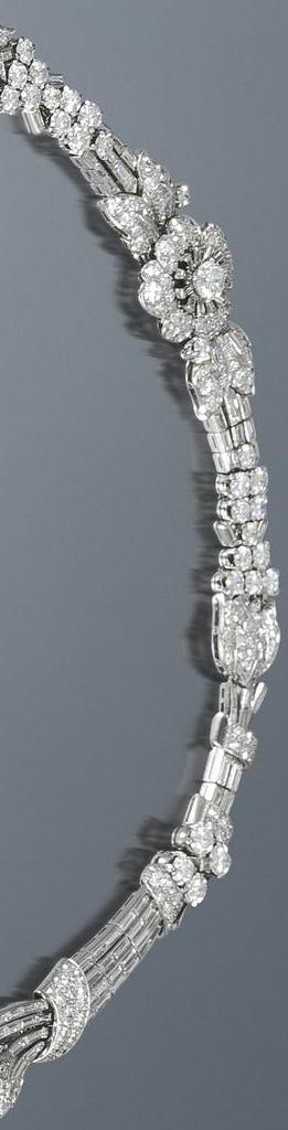Zoom view; Art Deco diamond tiara necklace bracelet, circa 1935. Almost 39 carats of diamonds wearable in 3 different ways. Via Diamonds in the Library.