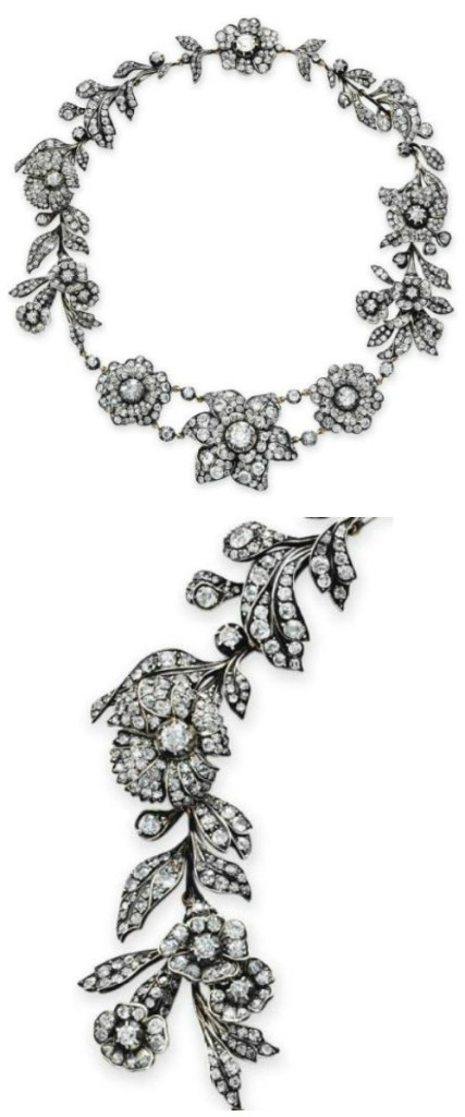 A Victorian antique diamond flower necklace.