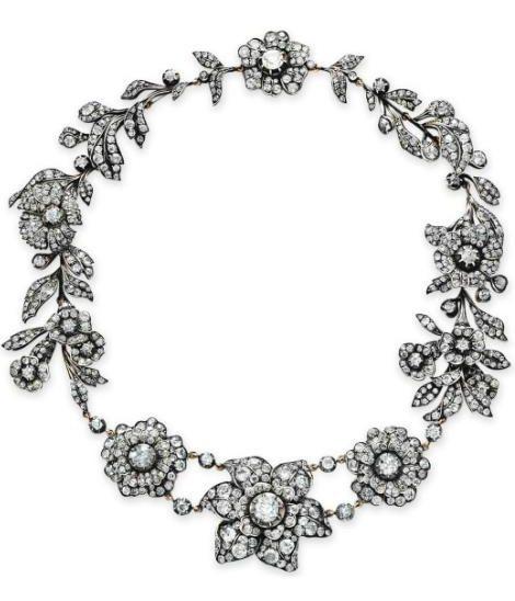 A Victorian antique diamond flower necklace.