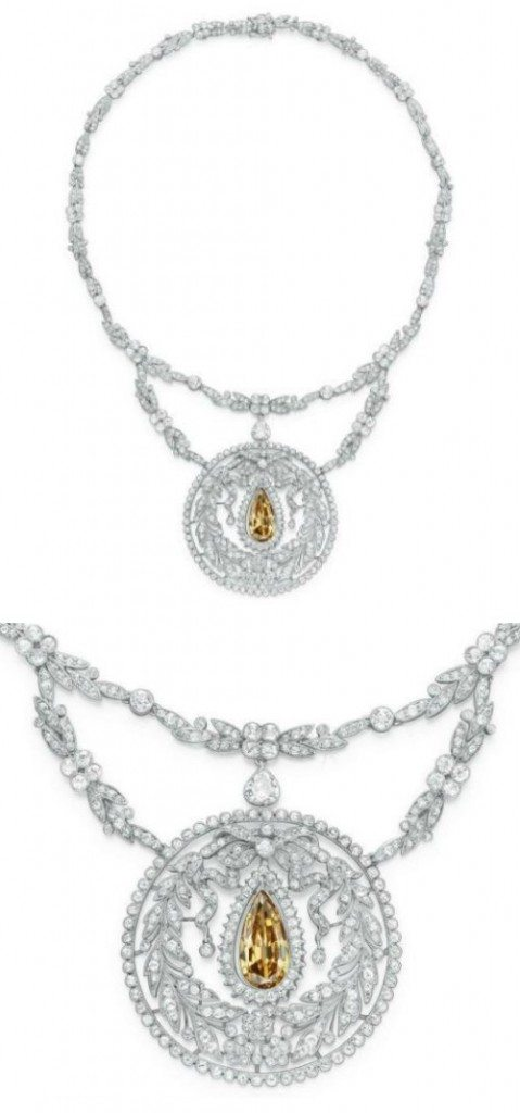 A stunning Belle Epoque colored diamond necklace, circa 1910.