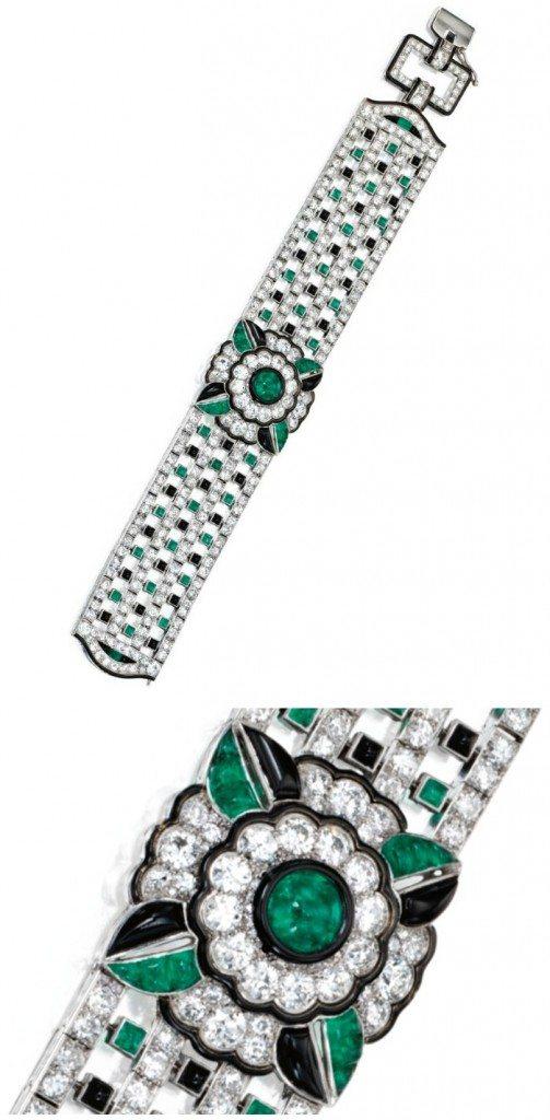 An exquisite Art Deco diamond, emerald, onyx, and enamel bracelet by Mauboussin, circa 1925. Via Diamonds in the Library.