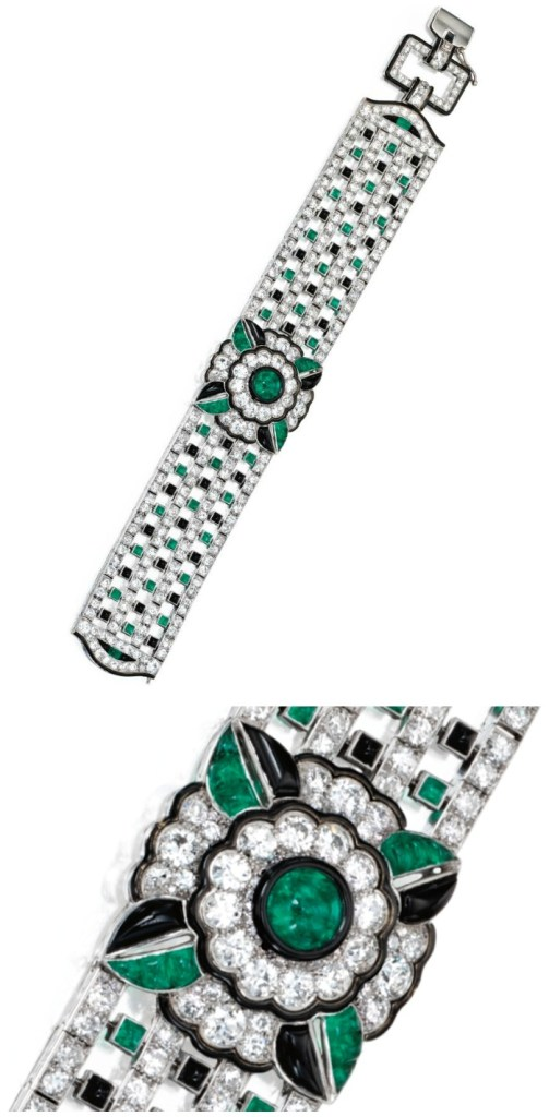 An exquisite Art Deco diamond, emerald, onyx, and enamel bracelet by Mauboussin, circa 1925. Via Diamonds in the Library.