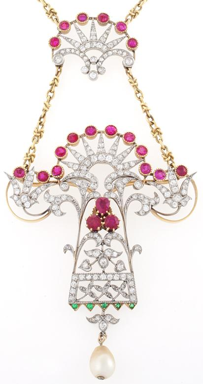 Art Nouveau gold, diamond, ruby, emerald, and pearl pendant necklace. Via Diamonds in the Library.