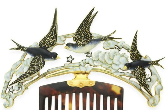 Detail view; Art Nouveau enamel, tortoiseshell, and diamond bluebird hair comb by Lucien Gaillard. Via Diamonds in the Library.