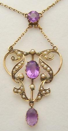 Edwardian amethyst and pearl lavalier pendant necklace.