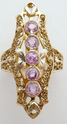 Elegant vintage filigree long knuckle ring in 10 K gold with pink spinel