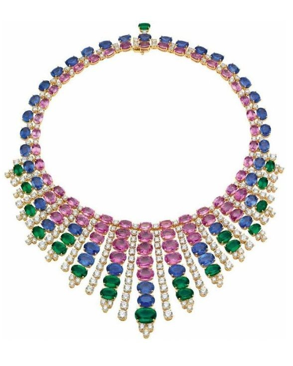 Emerald, sapphire, and diamond necklace by Bulgari. Via Diamonds in the Library.