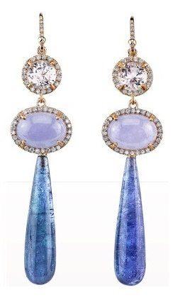 Irene Neuwirth Kunzite, Lavender Jade, Diamond & Tanzanite Drop Earrings
