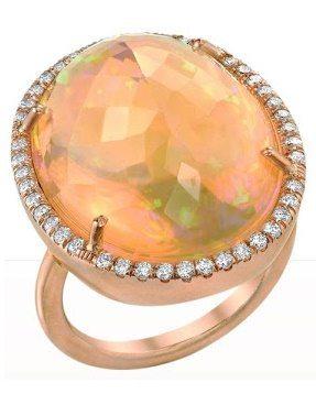 Irene Neuwirth Mexican Fire Opal & Diamond Ring