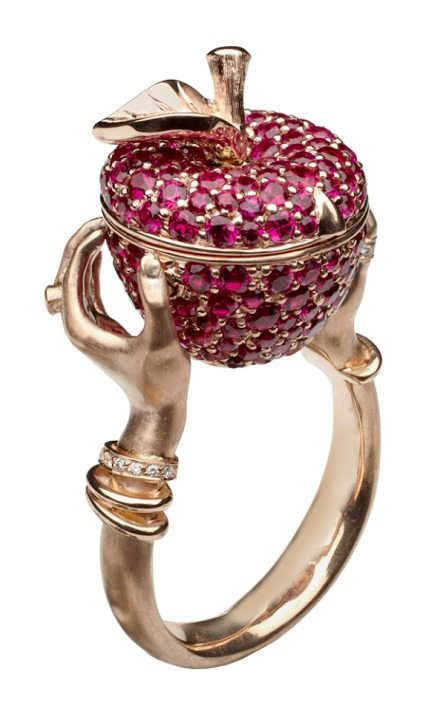 Stephen Webster poison apple ring; a poison (locket) ring in the shape of a ruby apple with diamond accents.