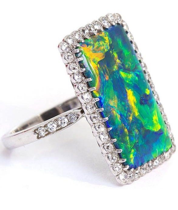 Tilted side view; the 'rarest' Art Deco opal and diamond ring.